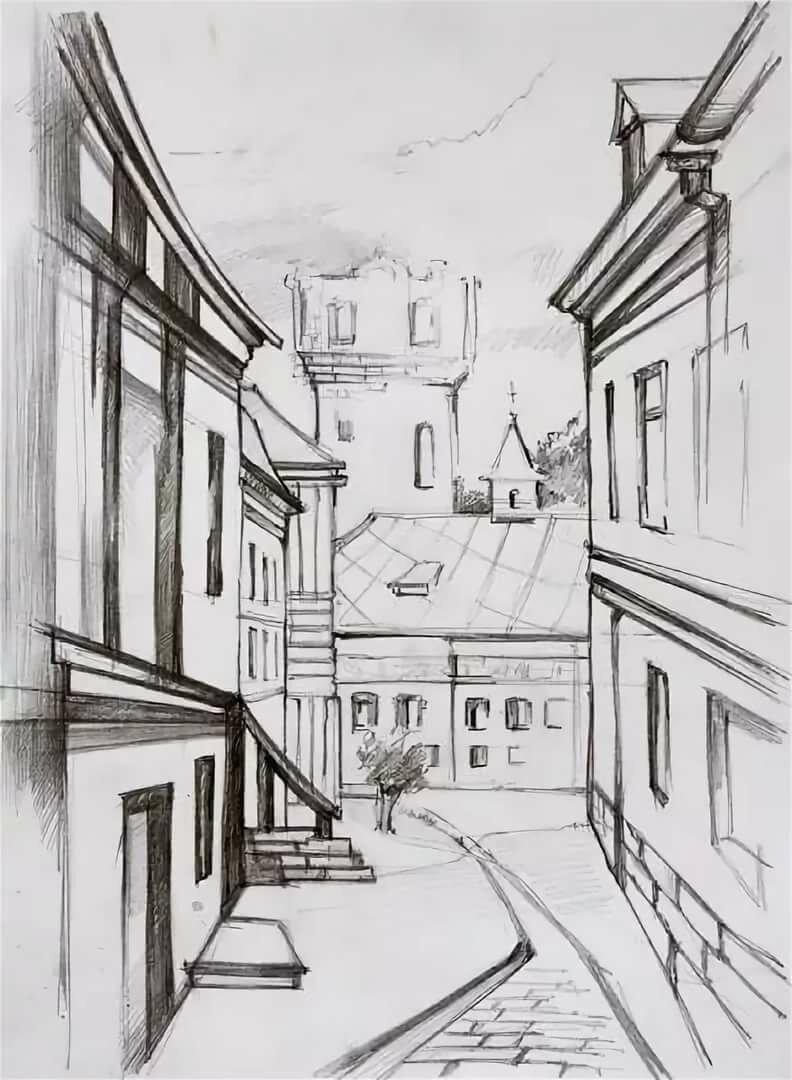 Рисунок города карандашом, своими