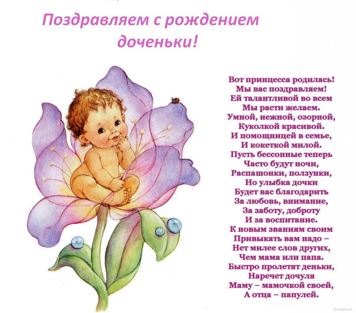 Открытка днем, поздравление картинкой с рождением дочки