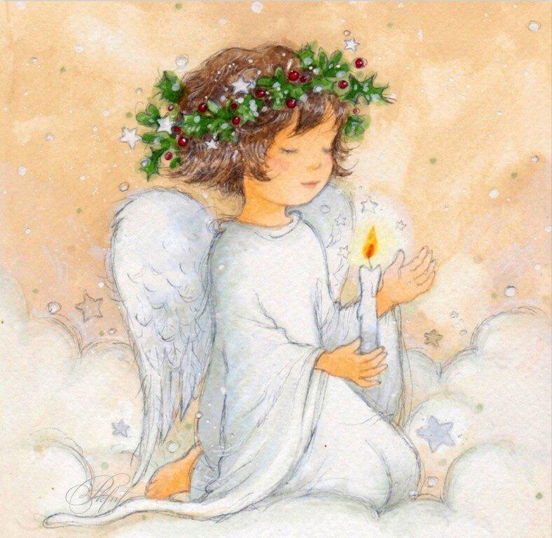 Вертикальные, авторские открытки с ангелами