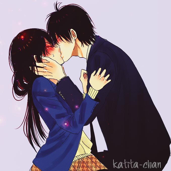 Милые картинки с поцелуями аниме, можно
