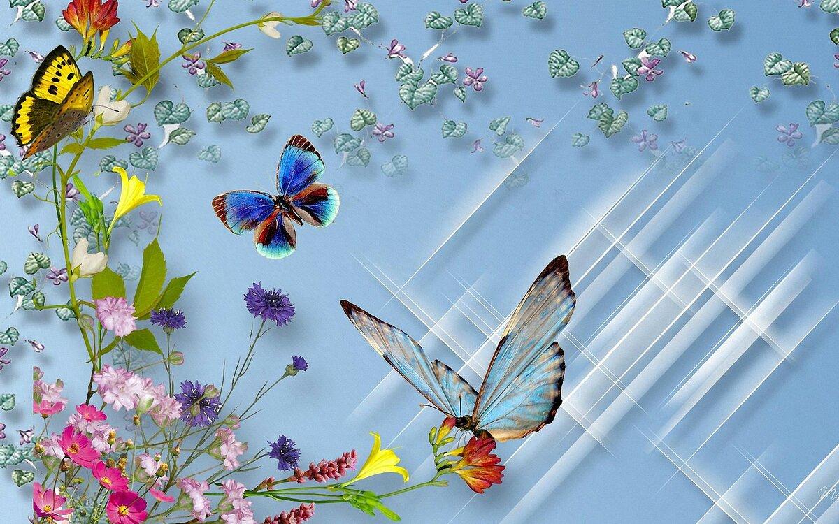 Бабочки летают открытка, 2017 поздравления
