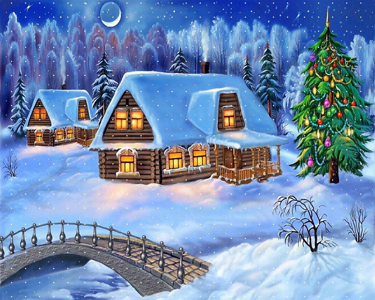 Год анимации, открытка на зимнюю
