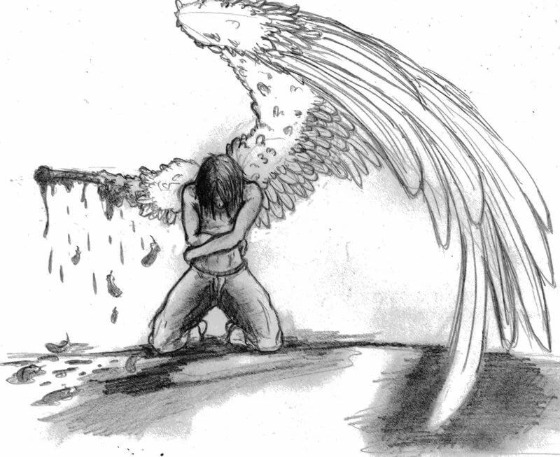 грустный ангел картинки карандашом открытка