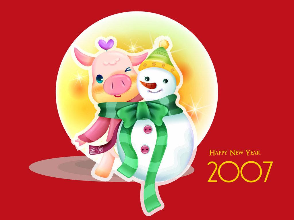 фон для открытки на новый год свиньи объединили все