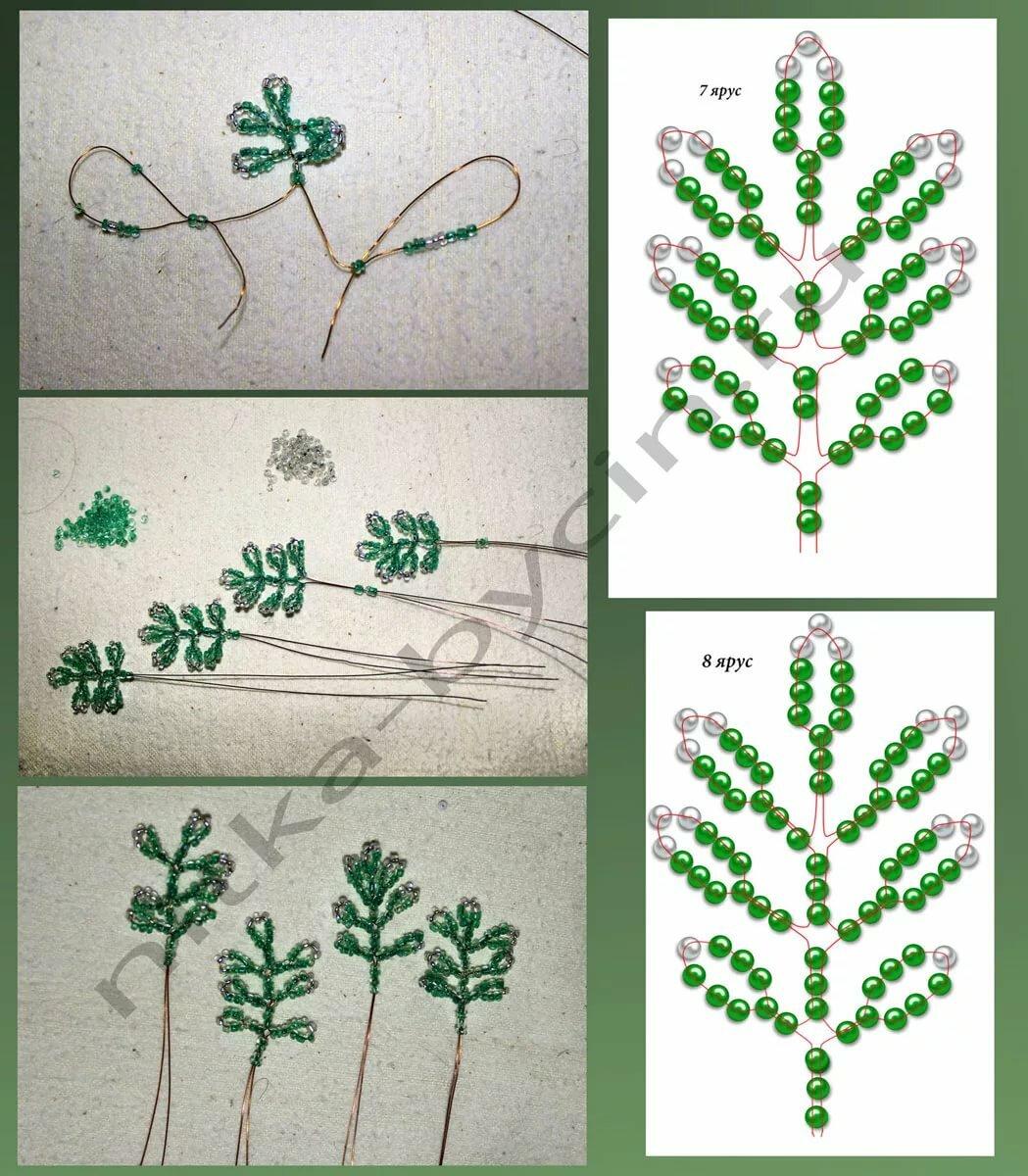 Дерево из бисера с картинками и схемами