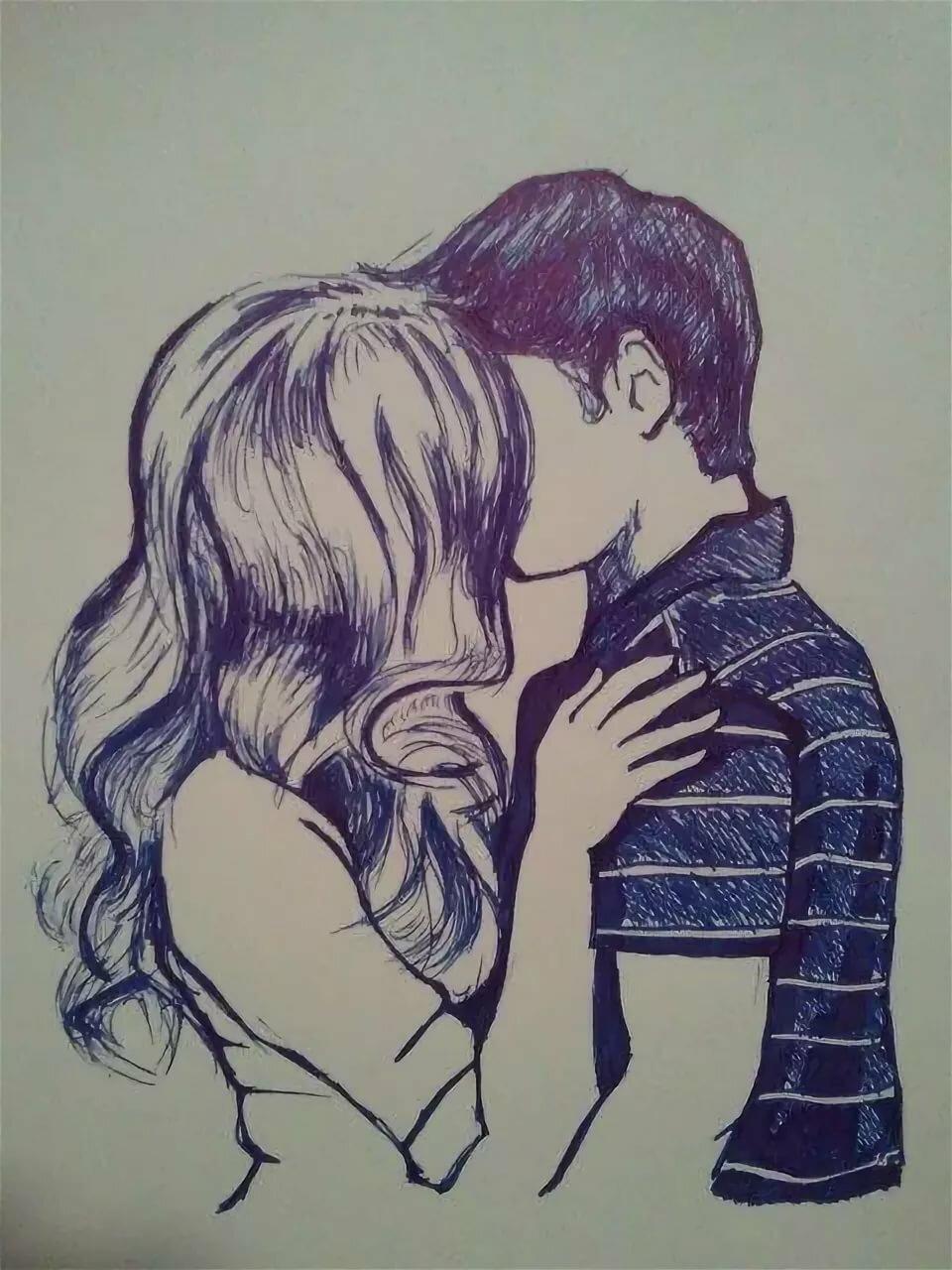 Рисунок поцелуи пары, моря