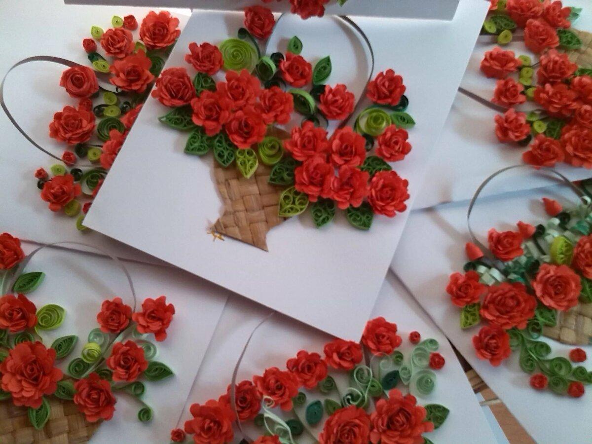 Розы из гофрированной для открыток