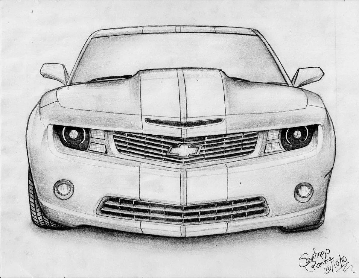 Картинки нарисованных простым карандашом машин