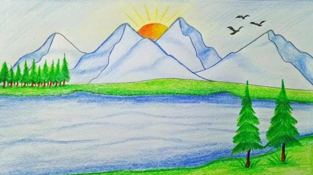 Рисунки карандашом легкие и красивые пейзажи