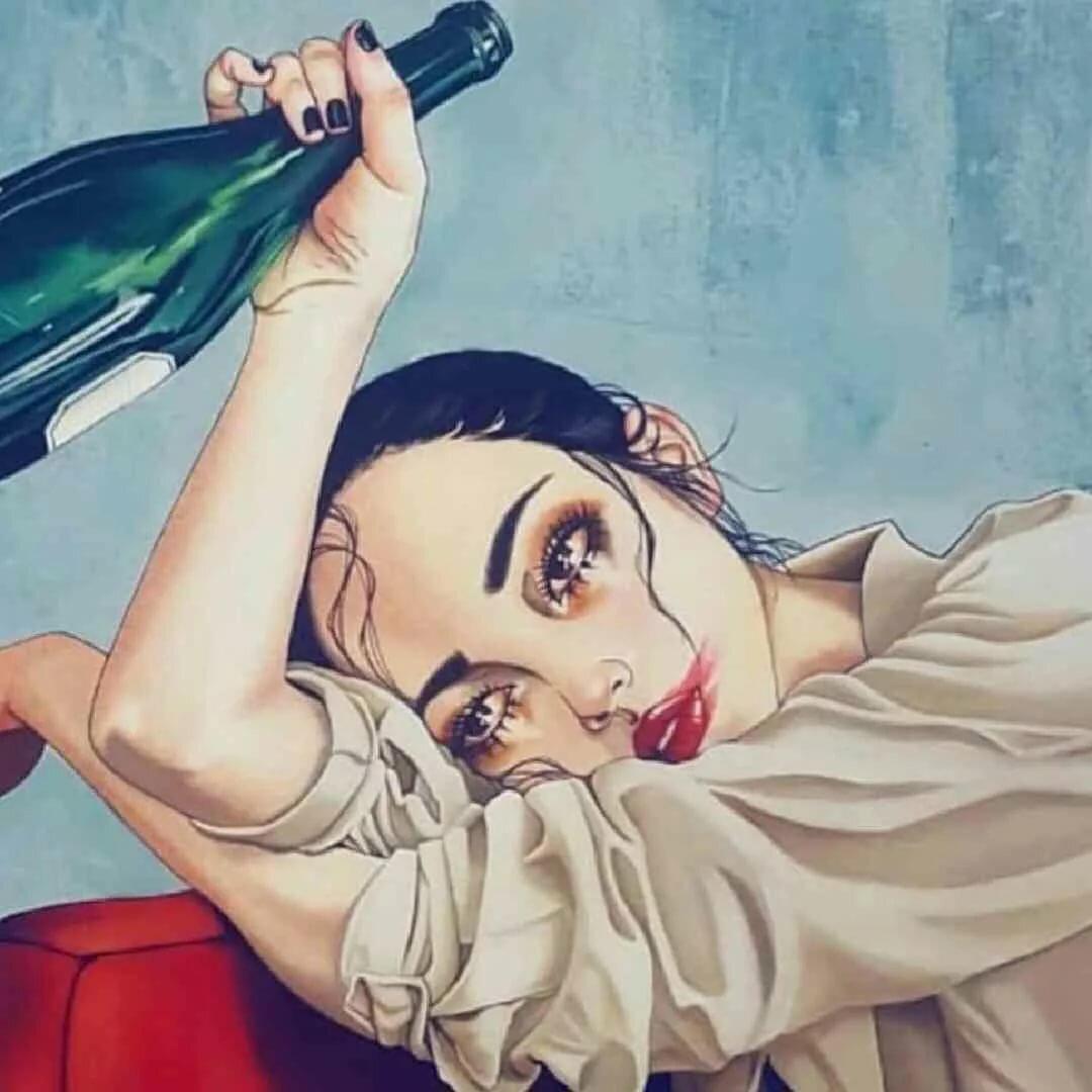 Девушка с бутылкой смешные картинки