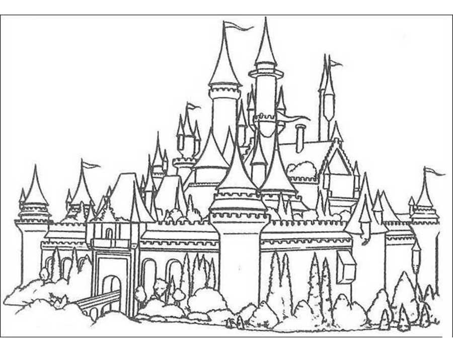 Картинка замок черно-белый
