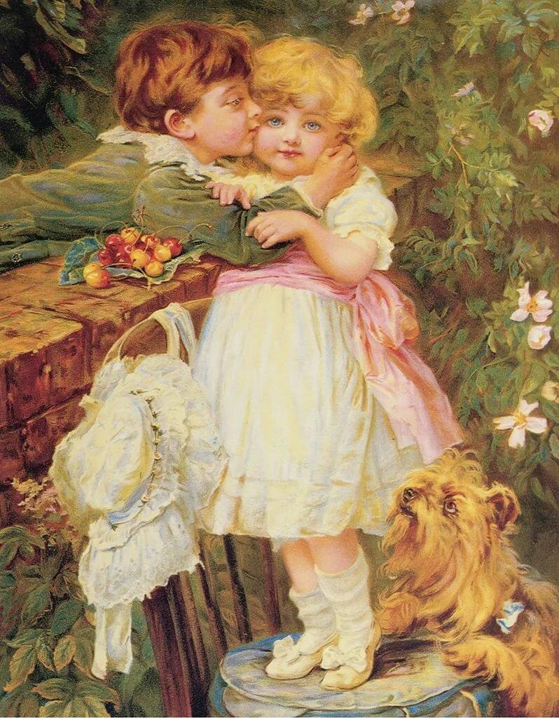 Открытки с детьми поцелуй, дню