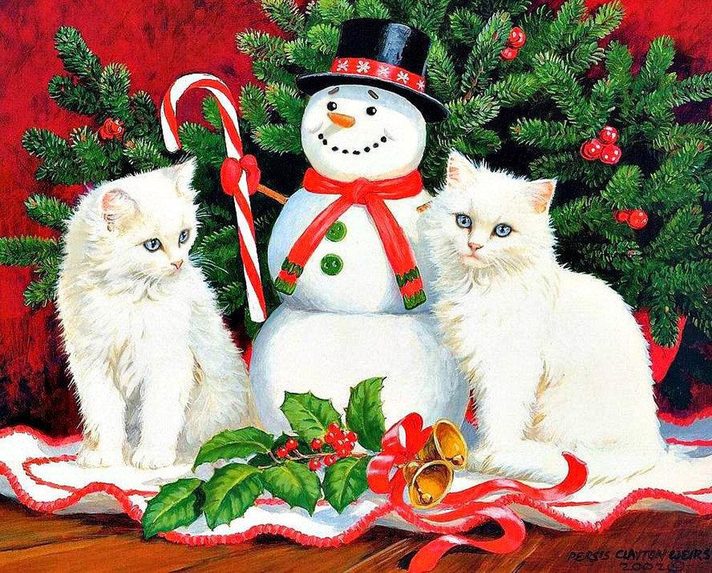 Картинки с новым годом кошка