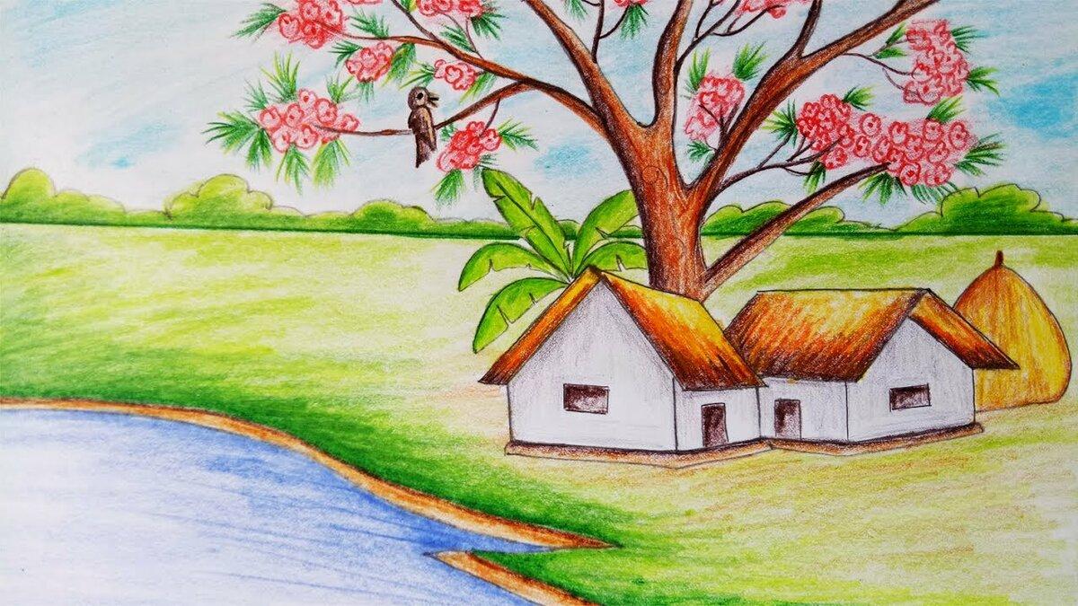 Картинки природы для срисовки легкие и красивые