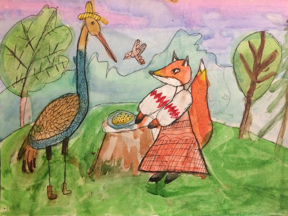 картинки лиса и журавль карандашом