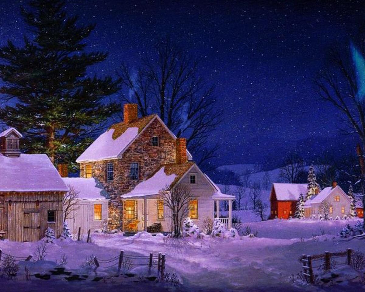 Картинках, зимний пейзаж с домиками картинки