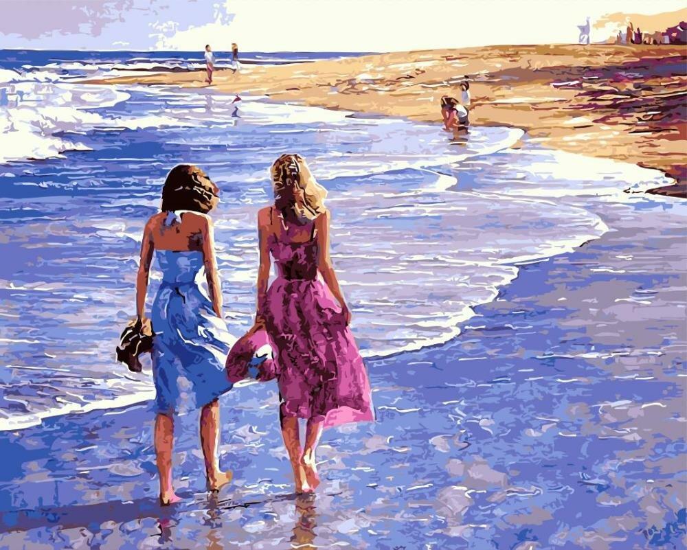 Открытки море и девушка