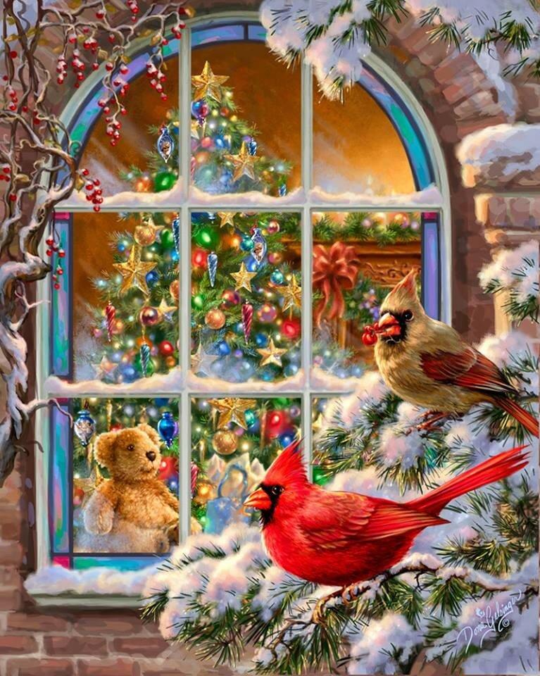 Новогодние открытки окна, растений анимация картинки