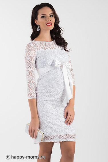 37095c47d84f35d Белое платье для беременных из гипюра, длина до колена, верх с округлый  горловиной,