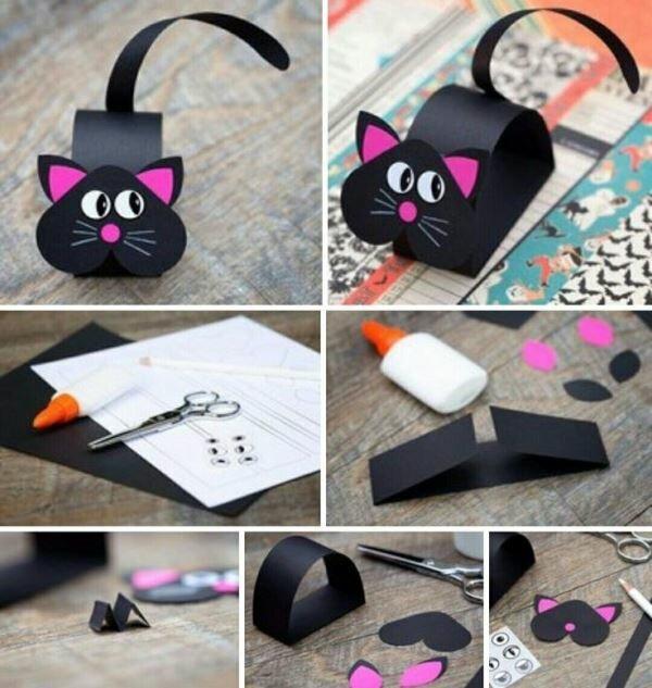 Как сделать открытку кошку из бумаги