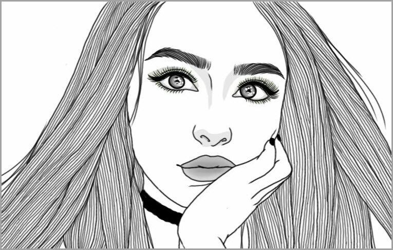 Картинки черно белые девочки нарисованные красивые