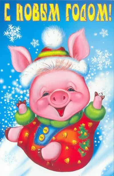 Открытки картинки с годом свиньи
