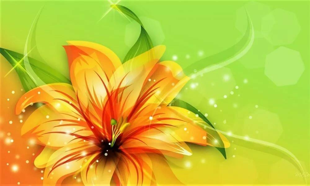 Картинка зеленая с лилиями