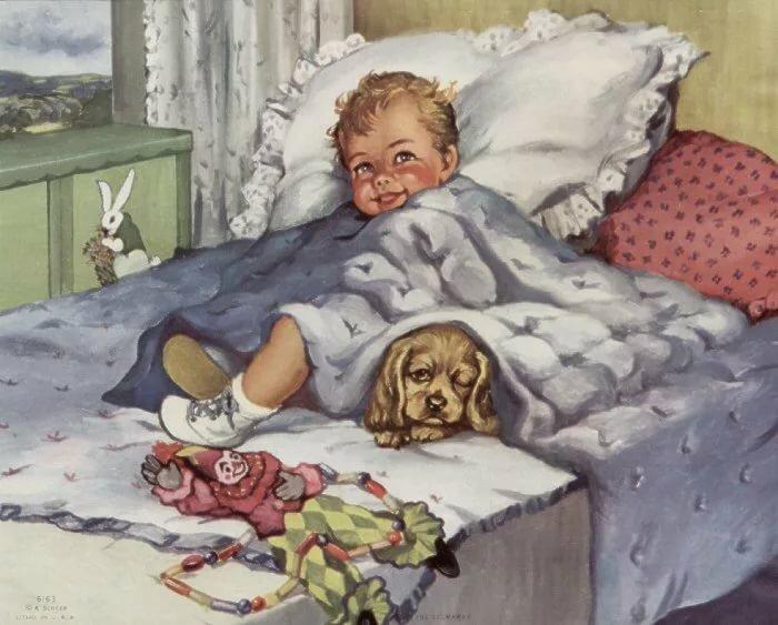 Открытки ретро с детьми доброе утро