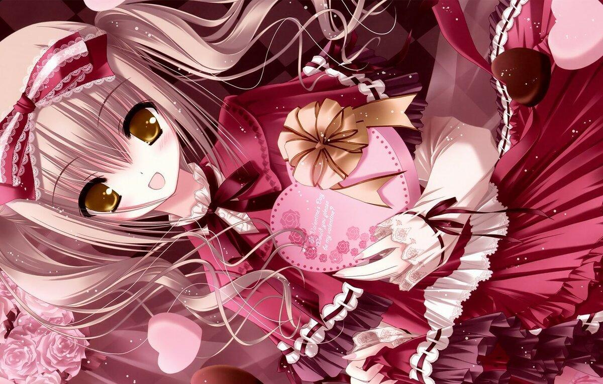 Валентинки открытки аниме, любви картинки