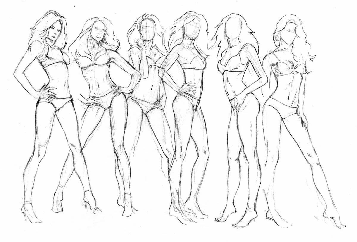 рисунки женских фигур карандашом начале