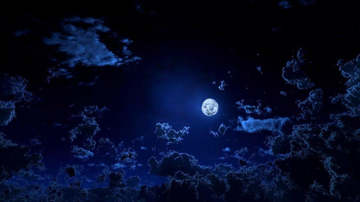Картинки темного неба со звездами и луной