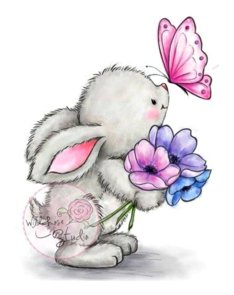 Открытки зайчик с цветами