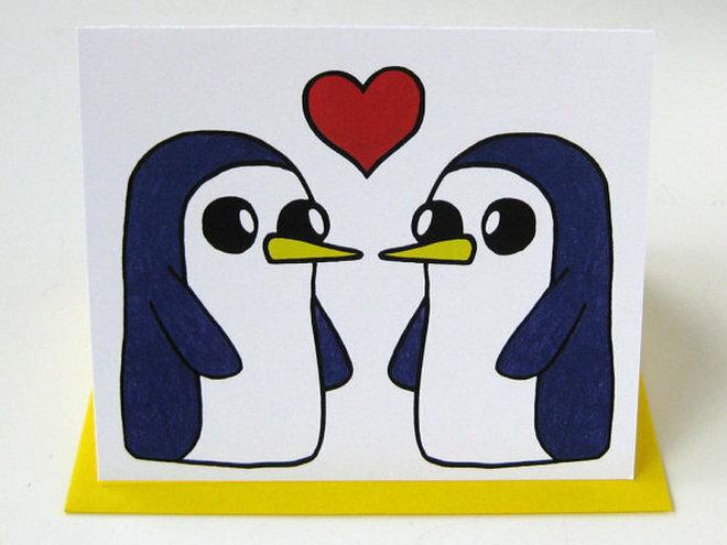 Пингвины на открытку, днем