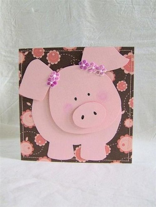 Как сделать самому открытку на новый год в год свиньи