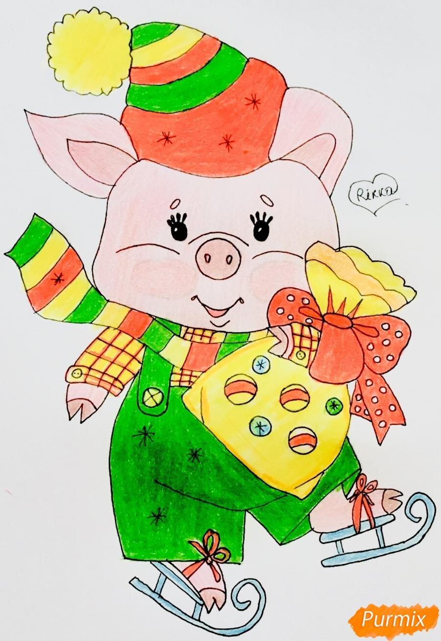 Днем, прикольные рисунки свиньи к новому году для срисовки