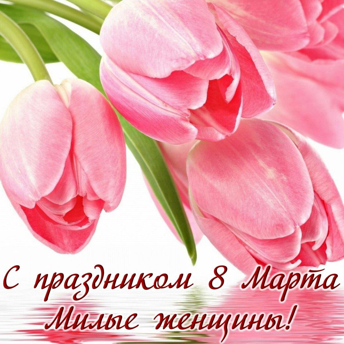 Здравствуйте друзья, с днем 8 марта открытки с тюльпанами