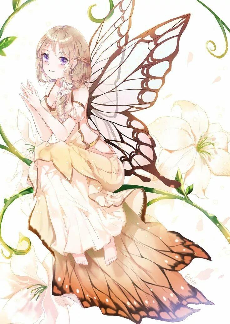 Аниме картинки девочки с бабочками