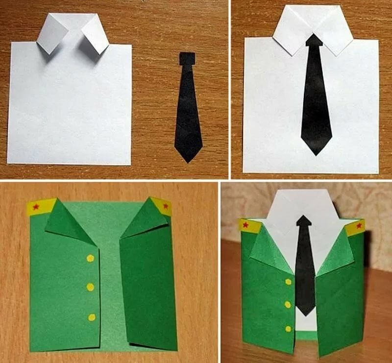 Открытка оригами рубашка для папы, годика мальчику