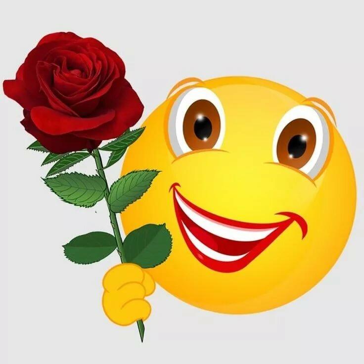 Смайлики смешные картинки с цветами, для детишек детские