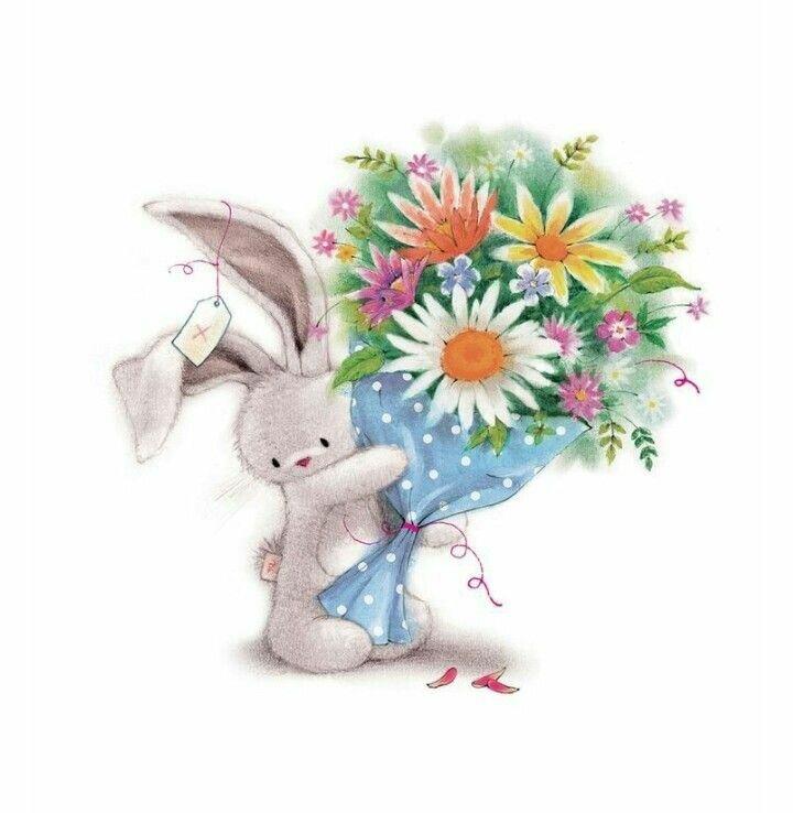 Открытка, открытки с зайчиками с днем рождения