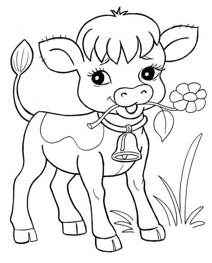 «Раскраска Корова - Распечатать бесплатно» — карточка ...