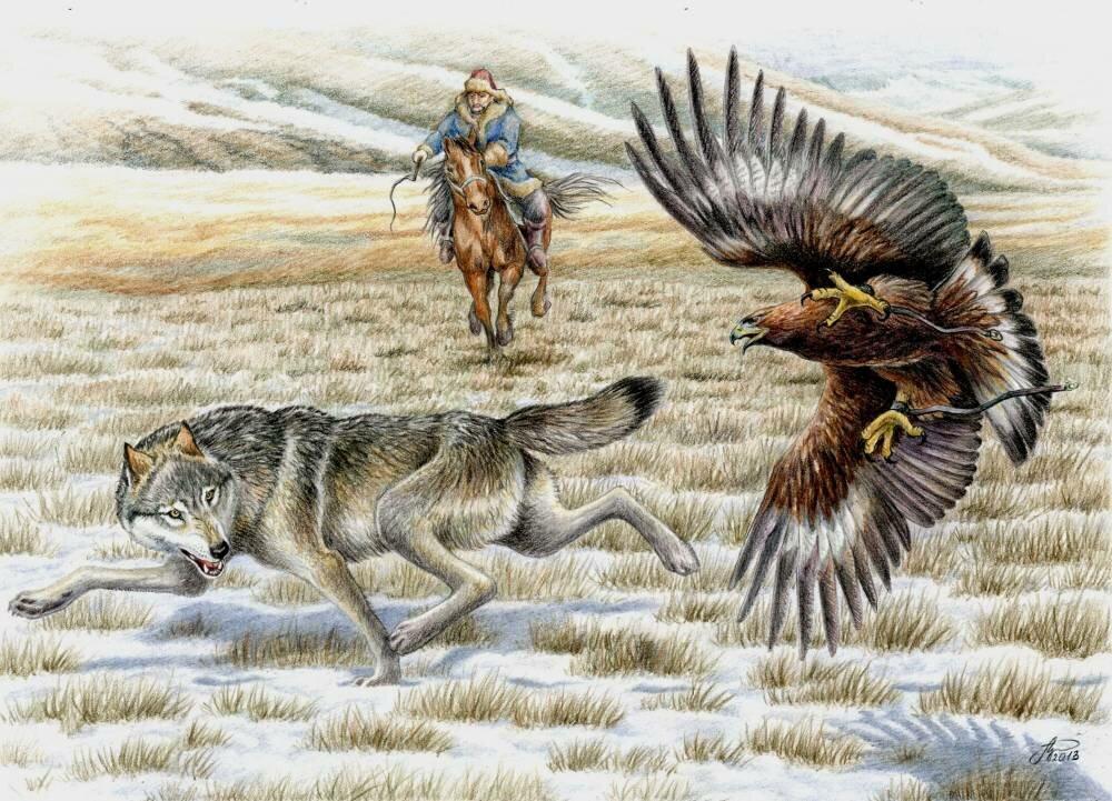 Охотники с беркутом картинки художников