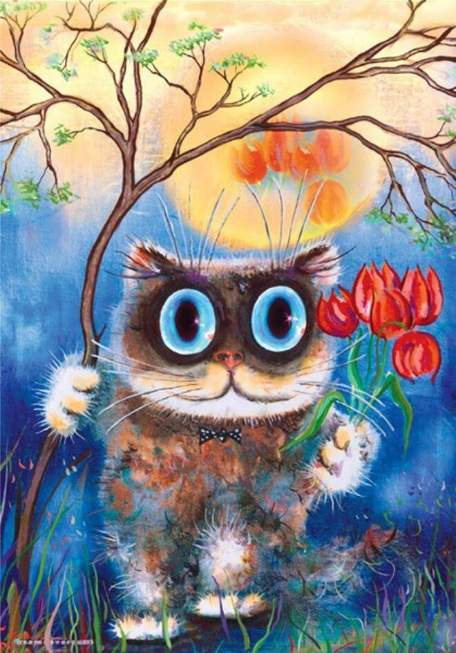 Дню учителя, открытки с нарисованными кошками
