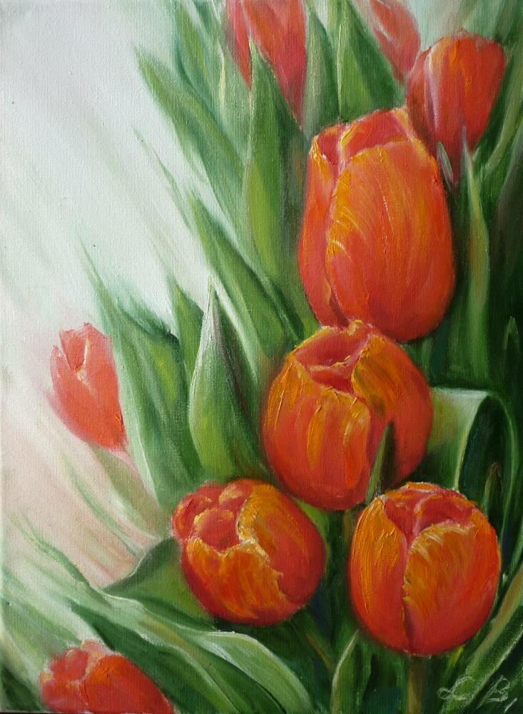 Турецком, открытка нарисованные тюльпаны