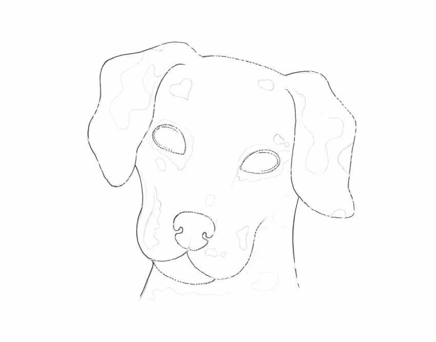 Картинки собаки для срисовки карандашом легкие