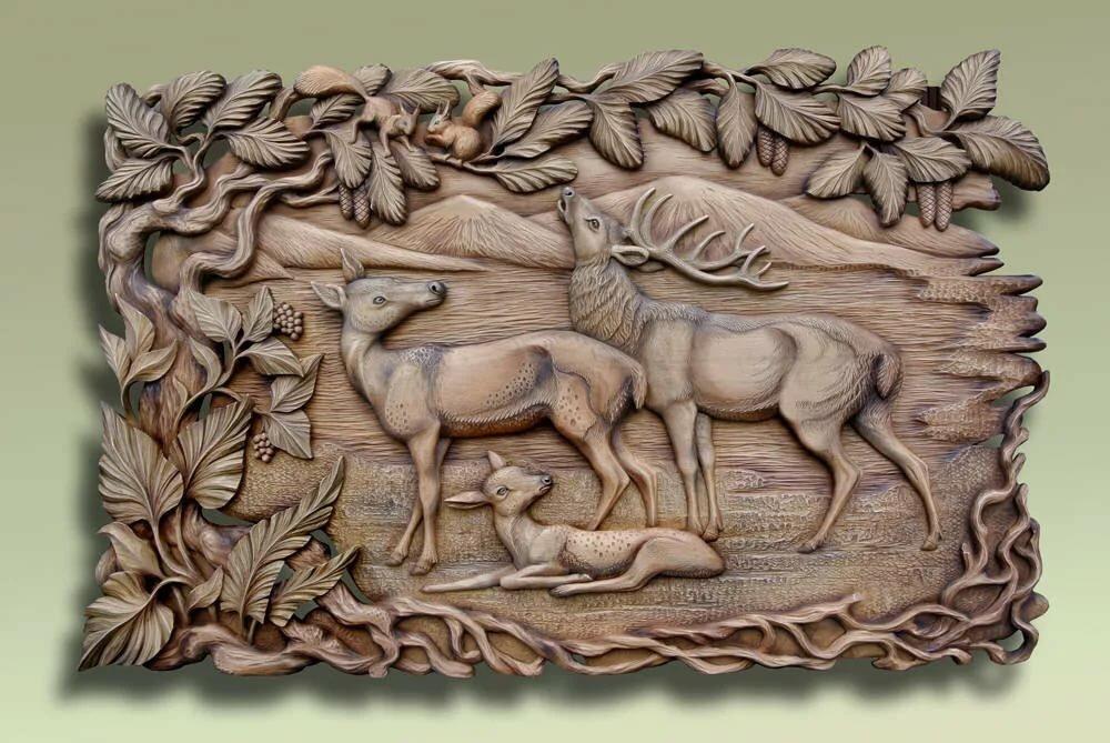 или резьба по дереву картинки животных оленя узел под