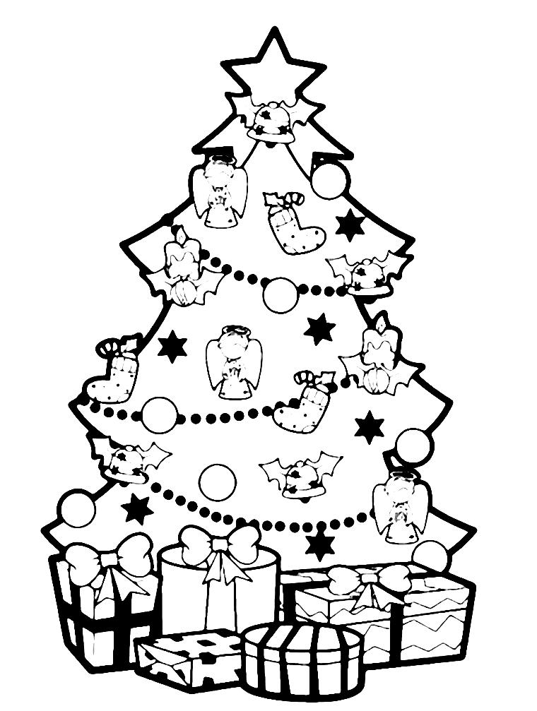 Картинки раскраски к новому году елка