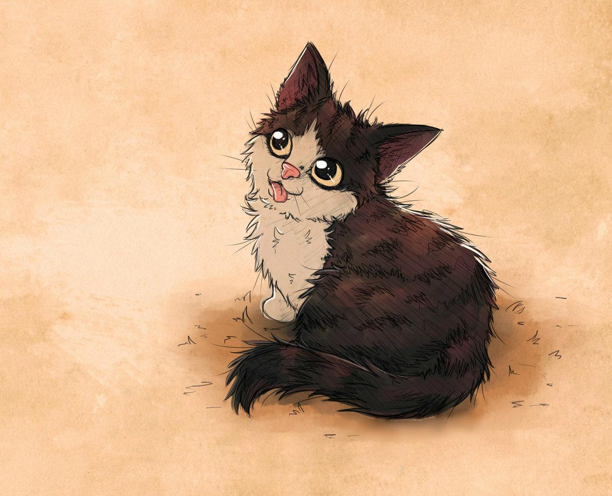 Картинки милые коты арты, цветочек для вырезания