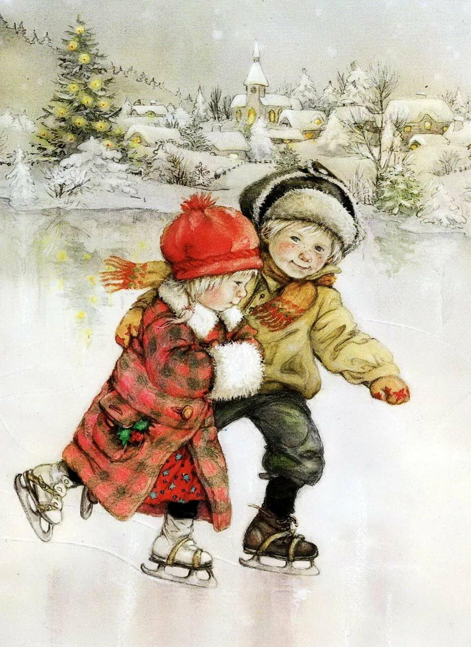 Новогодние открытки дети