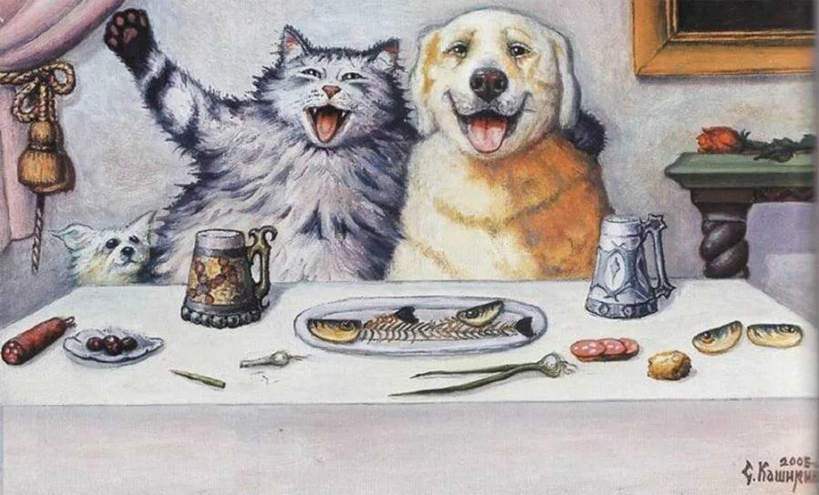 Кот и собака открытка, открытки днем рождения